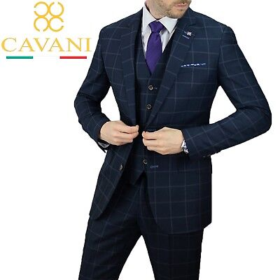 Gehorsam Mens Cavani Macy Navy Check Wedding Blazer Waistcoat 3 Piece Suit Sold Separate 100% Hochwertige Materialien