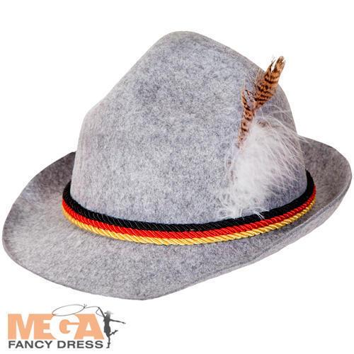 Grey Oktoberfest Hat Adults Fancy Dress Bavarian German Festival Beer Costume Ac
