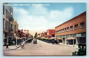 Santa-Monica-CA-EARLY-1900s-3RD-STREET-SCENE-OLD-CARS-UNUSED-POSTCARD
