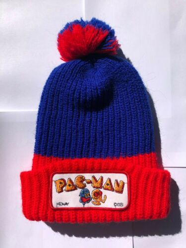 Vintage Midway PAC-MAN Pac Man winter hat knit bea