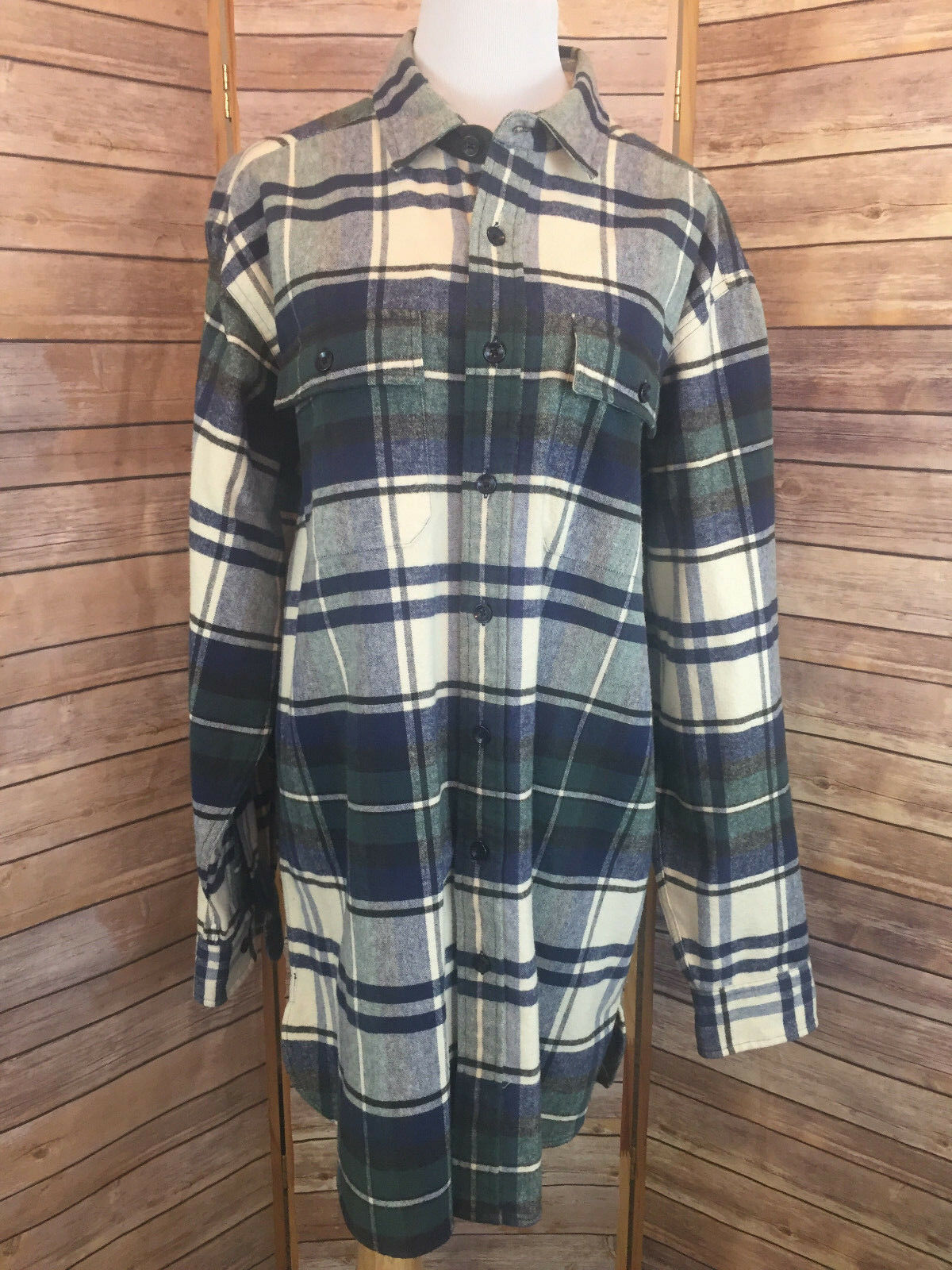 LL Bean Mens TALL Large bluee Plaid Flannel Shirt Button Front 100% Cotton Casual