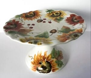 MAXCERA-Harvest-SUNFLOWER-FLOWER-Collage-PEDESTAL-CAKE-STAND-PLATE-BEAUTIFUL