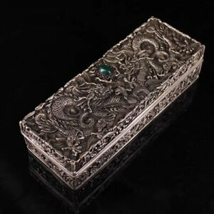China Dynasty old tibet Silver ssangyong dragon statue noble Jewelry box Decor