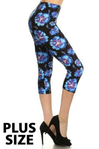 PS Amazing Buttery Soft Woman's Capris Blue Hibiscus Plus Size