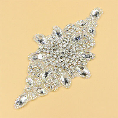 1 PC SILVER BEADED RHINESTONE APPLIQUE SEWING IRON ON DRESS APPLIQUE PATCHWORK
