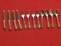 Dolls House Accessories Set Of 12 Gold Cutlery Ka218
