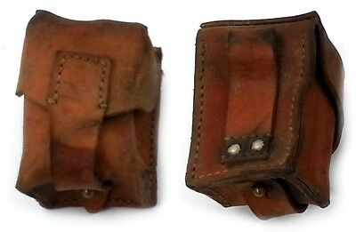 VINTAGE LEATHER AMMO POUCH FITS ANY BELT ARMY SURPLUS small cartridge bag