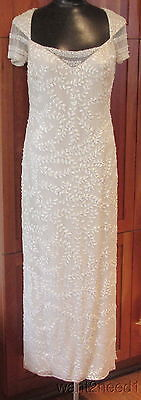 BADGLEY MISCHKA LONG GOWN 8 ecru ivory beaded sequin embroidered formal bridal