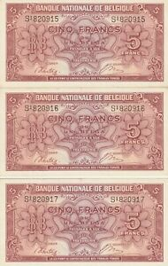 Vintage Lot of 3 Consecutive Belgium 5 Francs Banknotes 1943 Pick 121 WWII