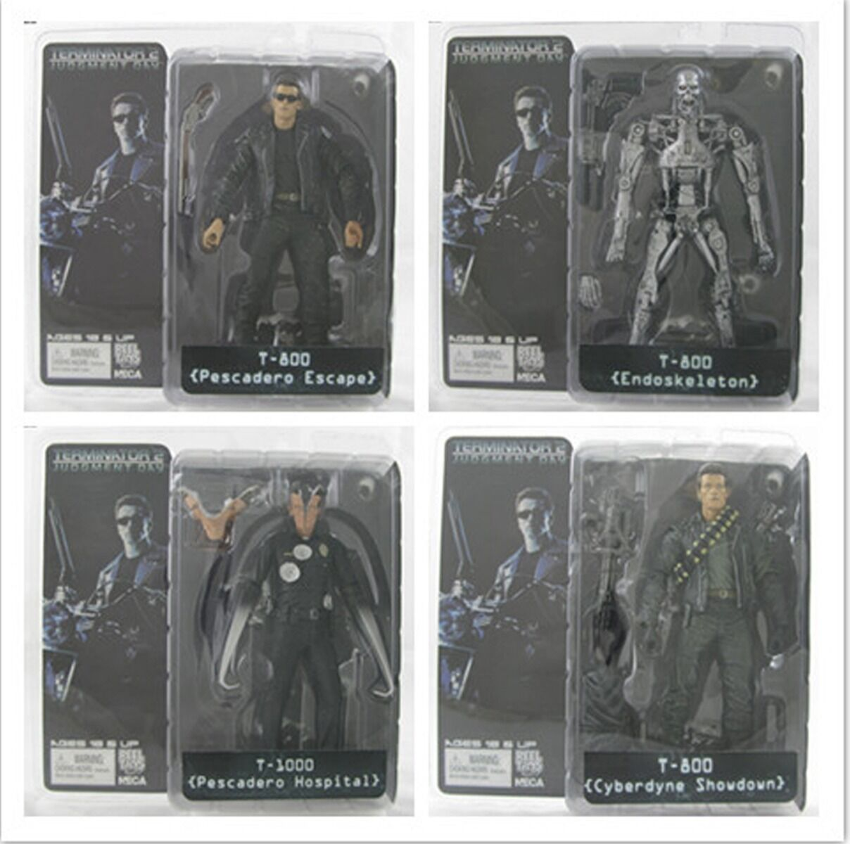 4PCS NEW Terminator 2 Judgment Day T-800 T-1000  7'' Action Figure A45L