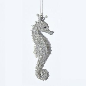 image is loading kurt adler under the sea silver seahorse nautical - Seahorse Christmas Ornament