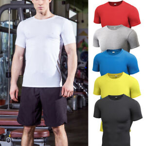 Mens-Sports-Compression-T-Shirts-Dri-Fit-Workout-Athletic-Plain-Tee-Short-Sleeve