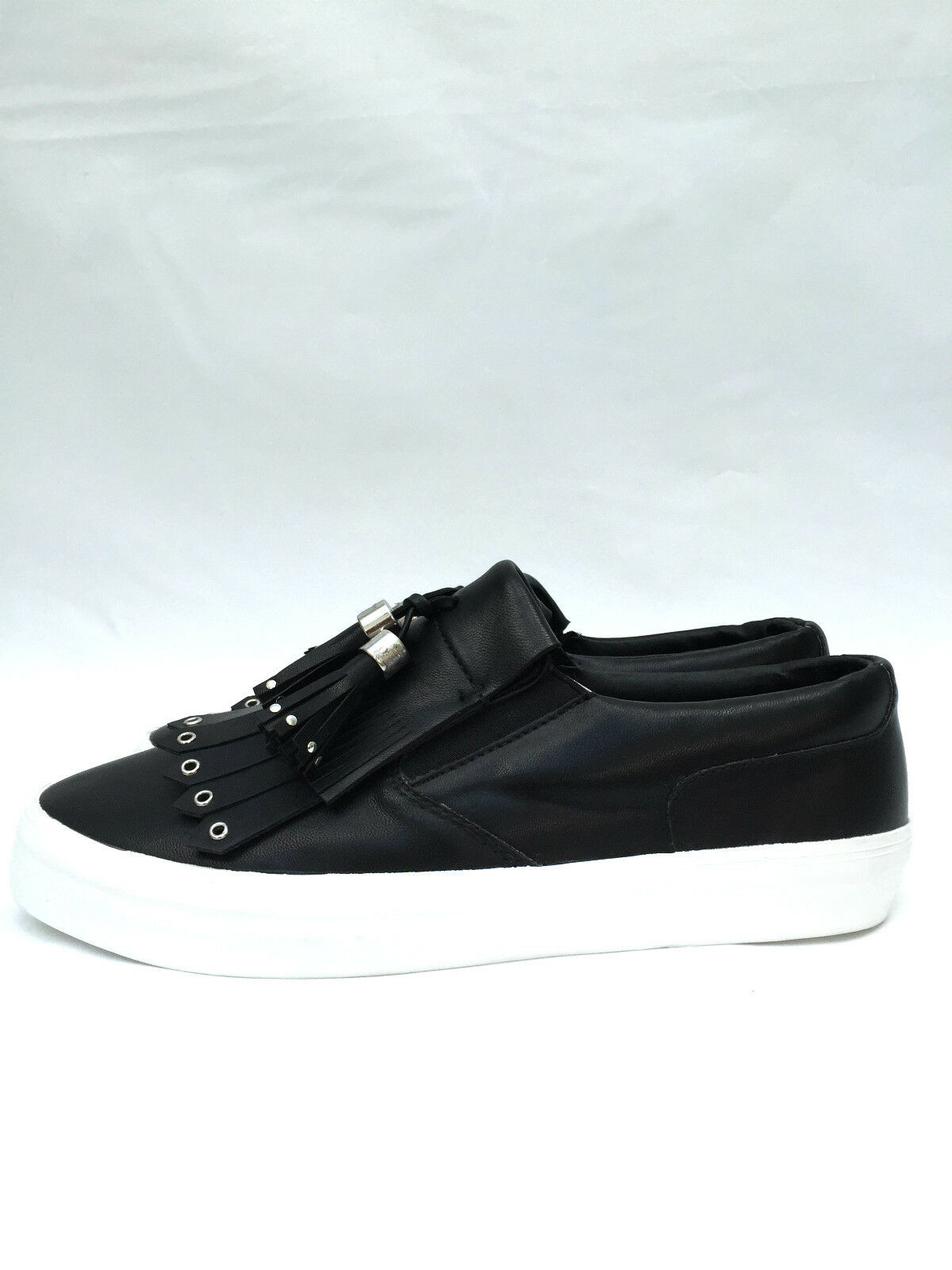 ZARA BLACK FRINGED FLAT Schuhe SIZE UK7 EUR40 US9