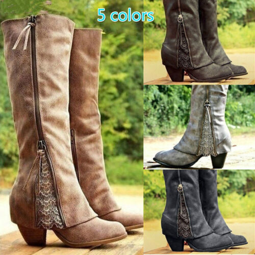 Women Lady High-heeled Knee High Boots Fold Over Near The Ankle With Lace Shoes