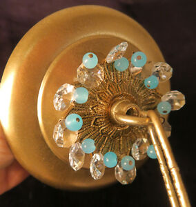 1-Beaded-Brass-tole-Ceiling-canopy-chandelier-part-set-Aqua-Blue-opaline-prisms