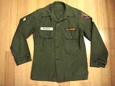Vtg Viet Nam US Army Cotton Sateen Utility Field Shirt Name ID PUKANSKY Patches