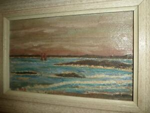 ANTIQUE-CANADIAN-MINIATURE-OIL-BOARD-PAINTING-SAILBOATS-ON-THE-ST-LAWRENCE-R