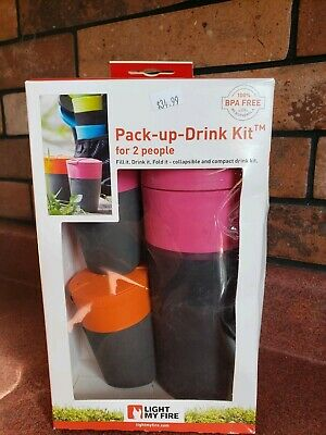 50/% Off 700ml Bottle /& 2 x Pack Up Cups Light My Fire Pack Up Drink Kit