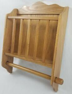 Vintage Solid Oak Wood Wall Mount Toilet Paper Holder ...