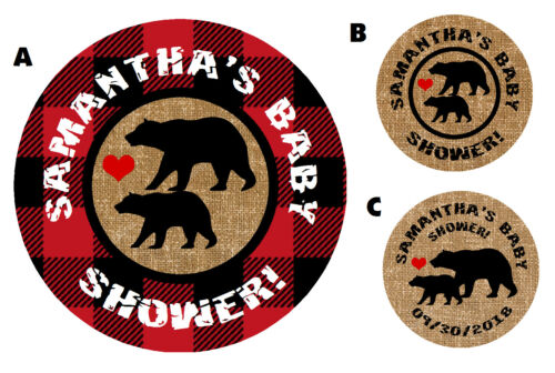 Lumberjack Black Bear Ours Baby Shower Party gommettes rondes faveurs étiquettes C