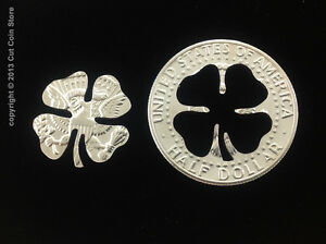 2019-Golf-Ball-Marker-Good-Luck-Four-Leaf-4-LEAF-Clover-Cut-Coin-50-Half-Dollar