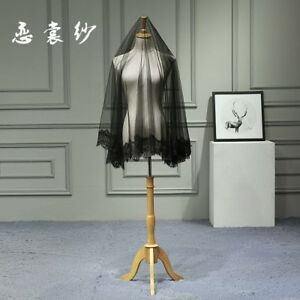 Vintage-Short-Lace-Tulle-Black-Wedding-Bridal-Veil-Bride-Hair-Accessories-2019
