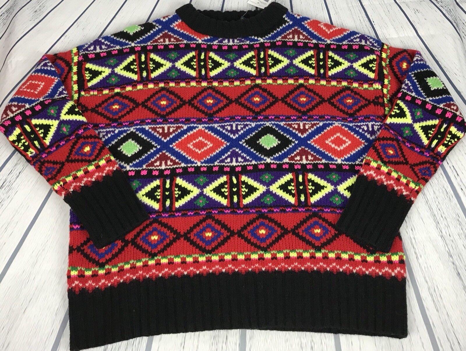 Ralph Lauren Polo Sweater Nordic Fair Isle Hand Knit Wool Indian Aztec Neon Sz S