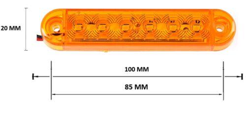 8x 12V 24V SMD 6 LED AMBER SIDE MARKER LIGHTS POSITION TRUCK TRAILER LORRY