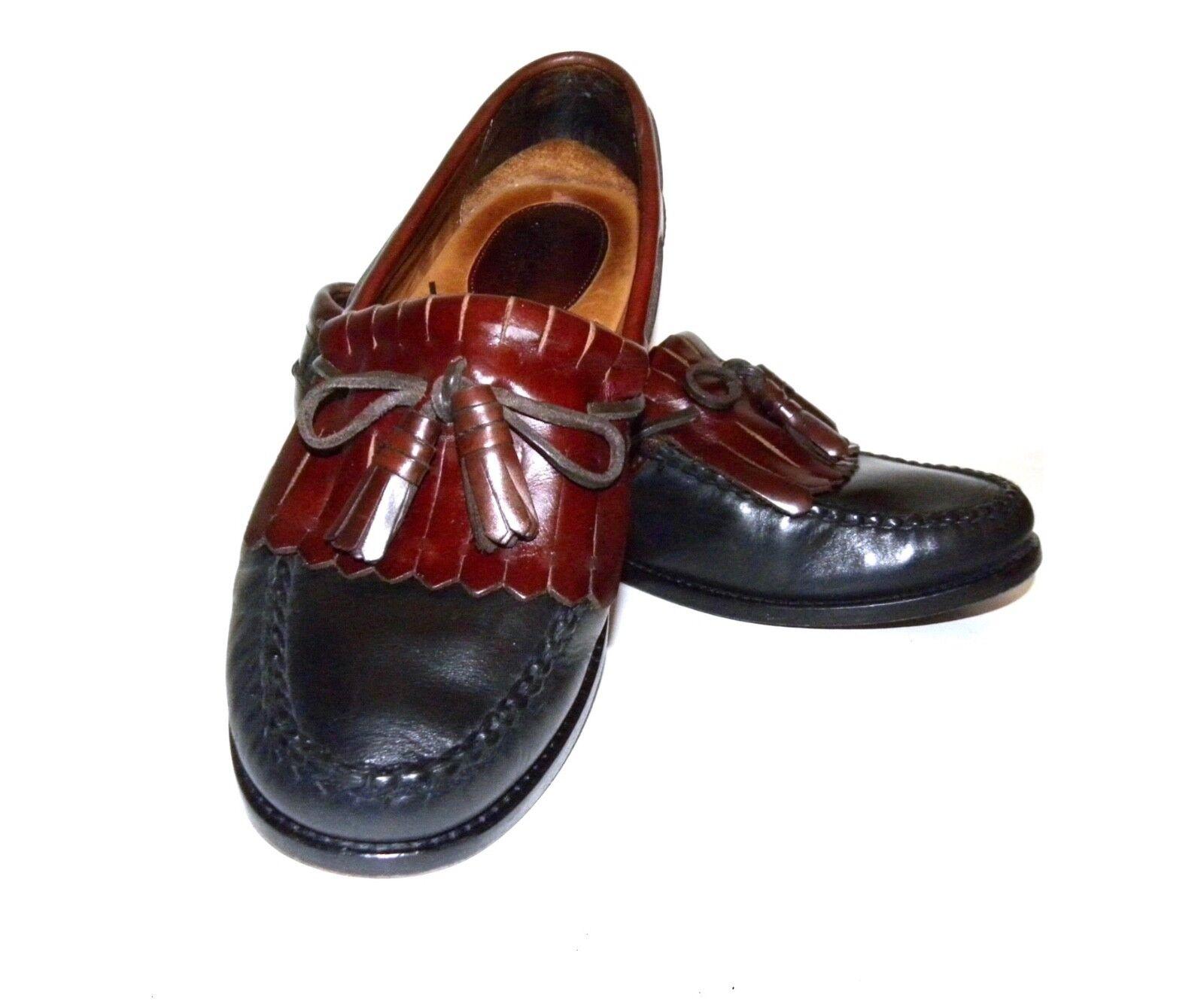 Johnston & Murphy Kiltie Tassel Loafer Oxblood Burgundy Black MEN size 10