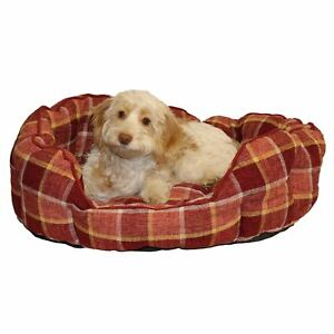 Dog-Bed-Time-Spiced-Wine-Check-Oval-Bed-Bedding-76x52cm-Large