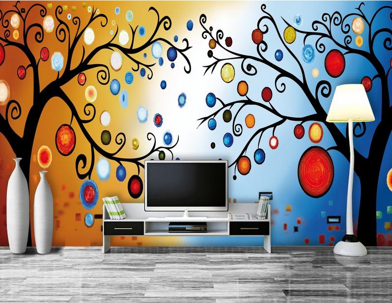 Papel Pintado Fondo Mural Vellón Árboles Frutal Abstracción 23 Paisaje Fondo Pintado Pantalla f11111