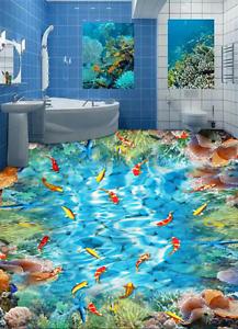 3D Wave Light  Fish 944 Floor Wall Paper Murals Wall Print AJ WALLPAPER UK Lemon