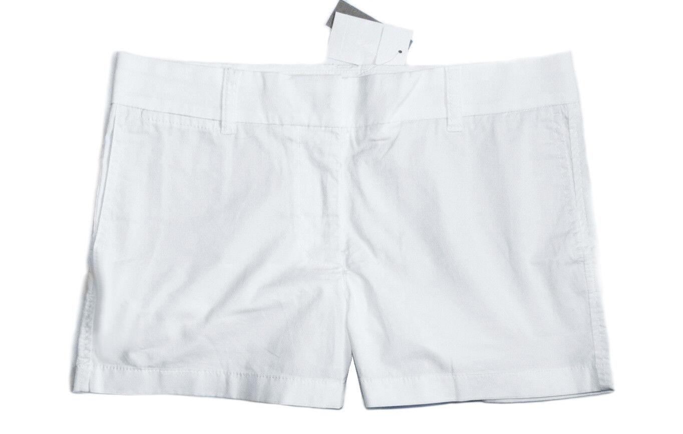 J.Crew Women's 6 - 4  Solid White Cotton Stretch Shorts
