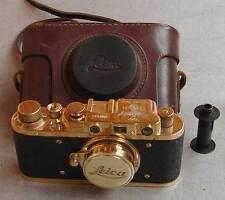 Leica II D Olympia 1936 copy gold in leather case (FED Zorki copy)
