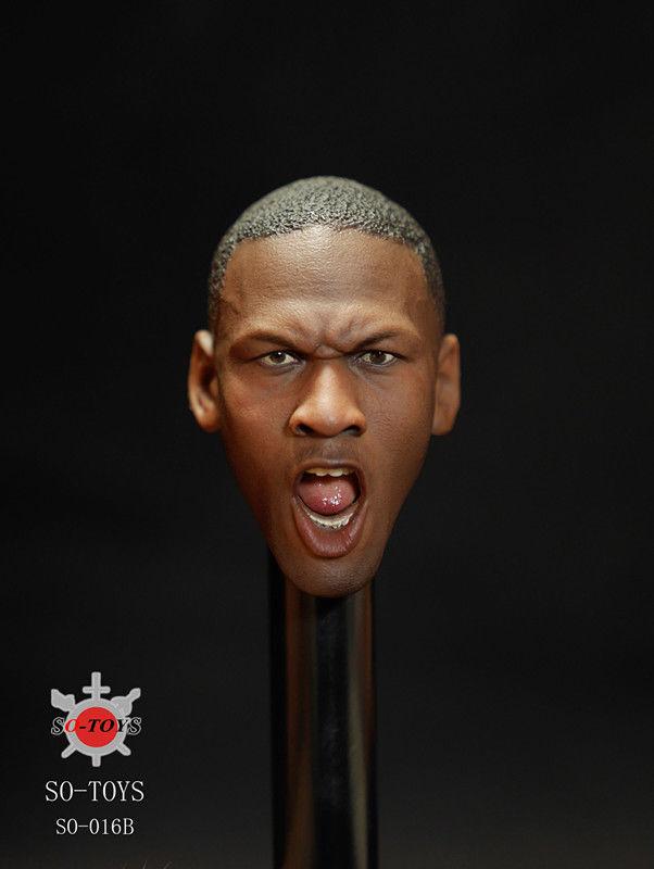 SO-TOYS  SO-016B 1 6 Scale Basketball Star Jordan Head Carving Roar Male Head