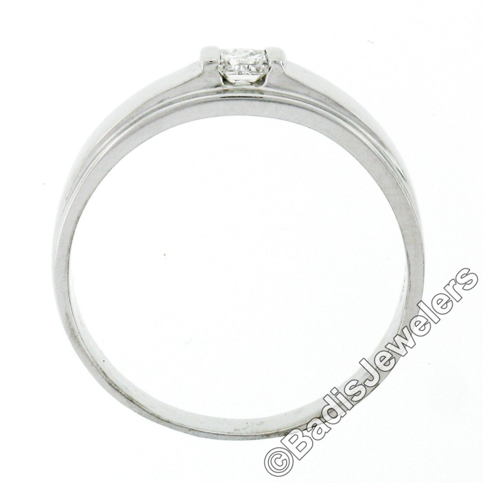 Unisex 14k White Gold .15ct Princess Cut Bar Set … - image 5