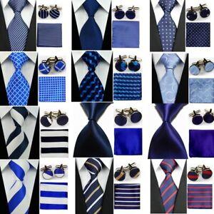 12Style-Classic-Blue-White-Striped-Necktie-Mens-Tie-Cufflinks-Hanky-Handkerchief