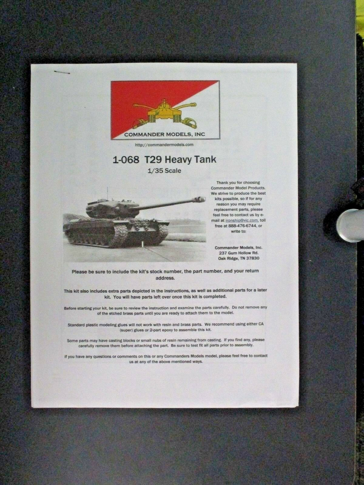 Befälhavare modellllerler 1  35th skala hkonsts US T -29 Heavy Tank Kit nr. 1 -068
