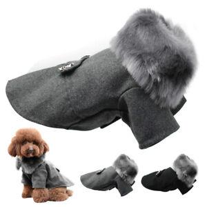 Abrigo-de-Perro-Mascota-Cuello-de-Piel-sintetica-de-Ropa-Lana-invierno-Chaqueta