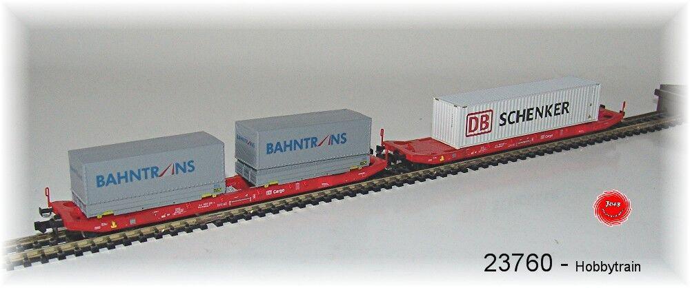 HOBBYTRAIN 23760 2 Pcs. sgkkms 698 DB / CARGO CON wechselbehältern 40' cont.neu