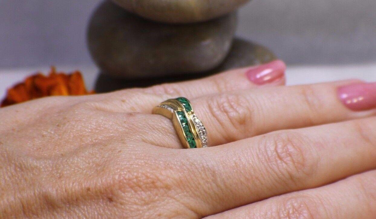 Allurez Channel-set Emerald & Diamond Ring Band 14k Yellow Gold | eBay