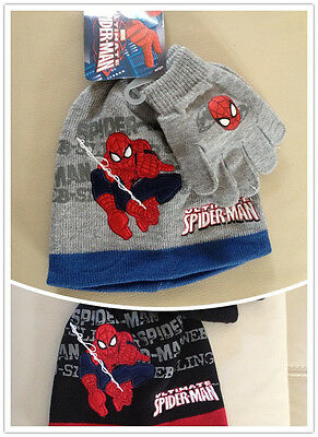 Brioso Spider-man Garçon Accessoire Bonnet Gants 2 Pièces Gris Noir Neuf