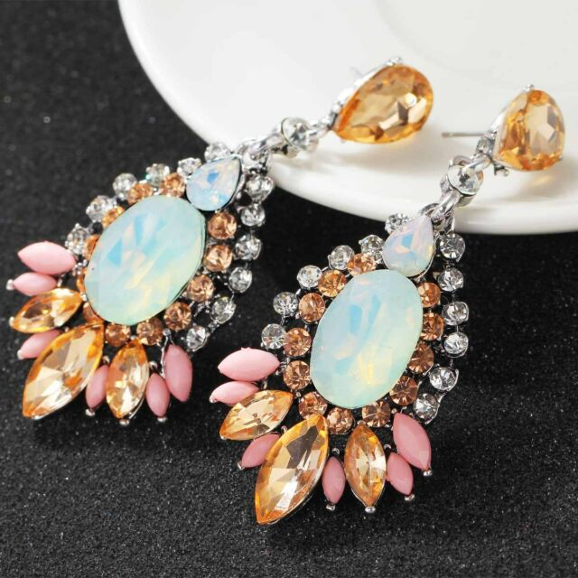 New Fashion Women Elegant Crystal Rhinestone Ear Stud silver dangle Earrings 441