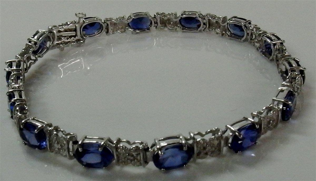 10K Solid White gold Oval-Cut blueE SAPPHIRE Tennis Link Bracelet
