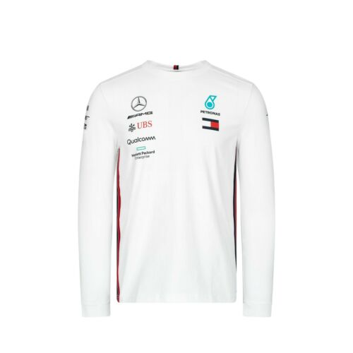NEW 2019 Mercedes AMG F1 Team Lewis Hamilton Long Sleeve T Shirt Tee Top WHITE