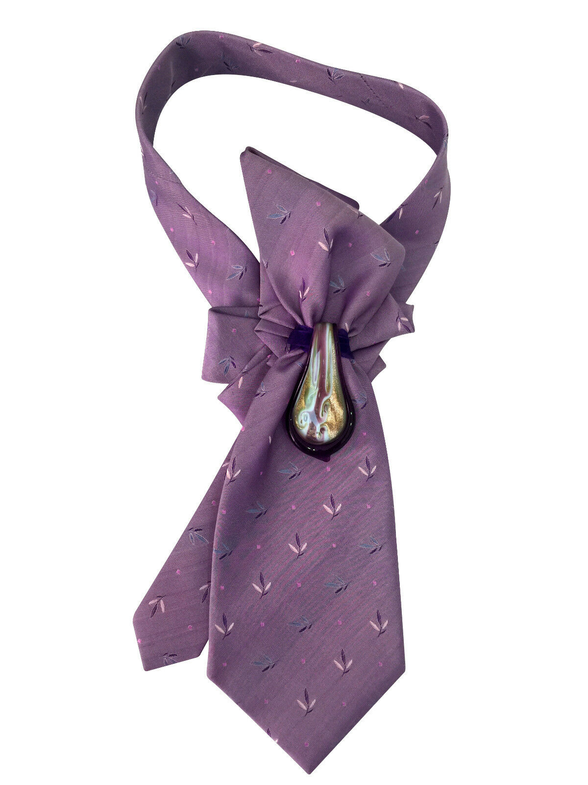 Sales -20% Tie women's. Silk 100% Italy, Murano glass. Collar, necklace, necktie