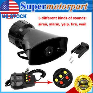 100W 5 Sound Loud Car Warning Alarm Fire Siren Horn PA Speaker MIC System
