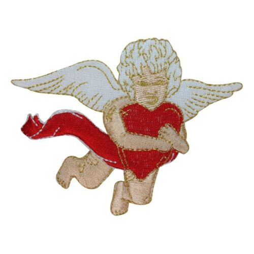 ID 1814 Angel Holding Heart Patch Flying Valentine Embroidered Iron On Applique
