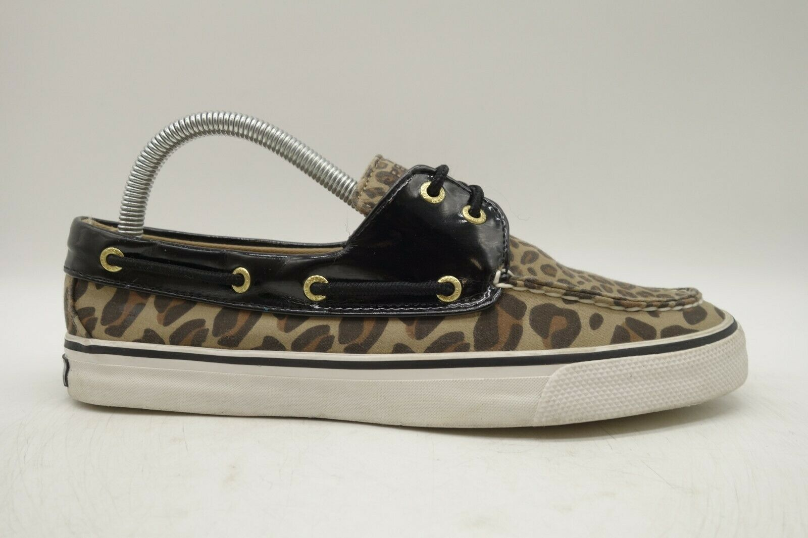 Sperry Top Sider Brown Leopard Print Canvas Deck Boat Loafers Shoes Women's 8 M