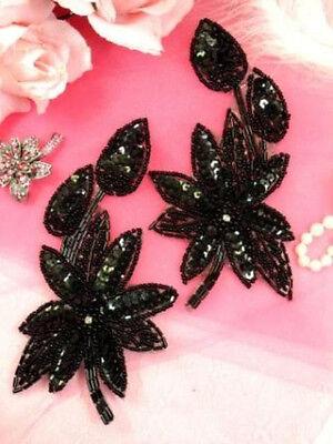 XR51 Black Floral Mirror Pair Sequin Beaded Appliques